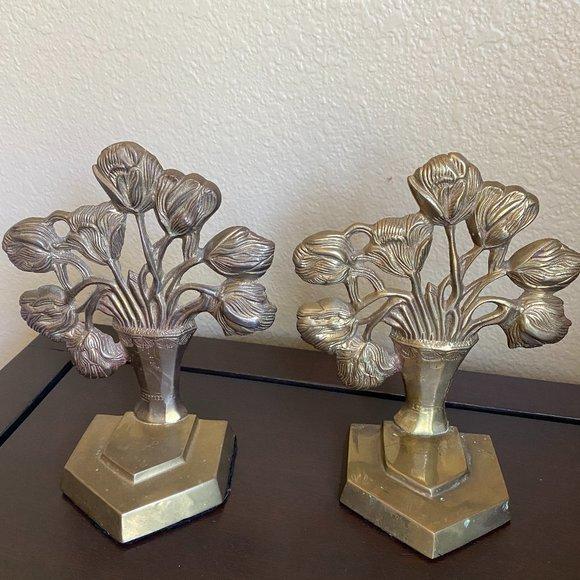 Vintage Brass Tulip Bookends Floral decor